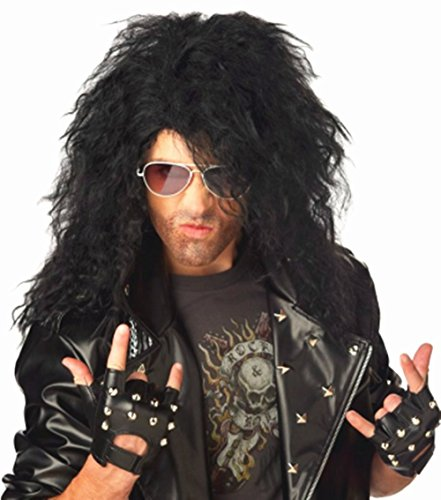 B-G Professional Stylish Mens Retro 70s 80s Disco Rocker Long Curly Wig Full Hair Wig Fancy Party Accessory Cosplay Wig Mullet Wig (Black) (2)