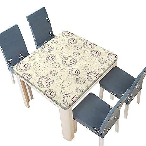 PINAFORE Natural Tablecloth Vintage Watches Roman Digits Wallpaper Pattern Decorative Illustration Cream Maroon Home Use, Machine Washable 29.5 x 29.5 INCH (Elastic -
