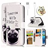 Apple iPhone 5 5s SE Case,Vandot 3in1 Set Colorful Painting Pattern PU Leather Magnetic Closure Flip Stand Wallet Case Cover [Anti-Scratch][Perfect Fit] Skin Shell+Bling Anti Dust Plug+USB Data Cable-Dog Tomorrow Will Be A Better