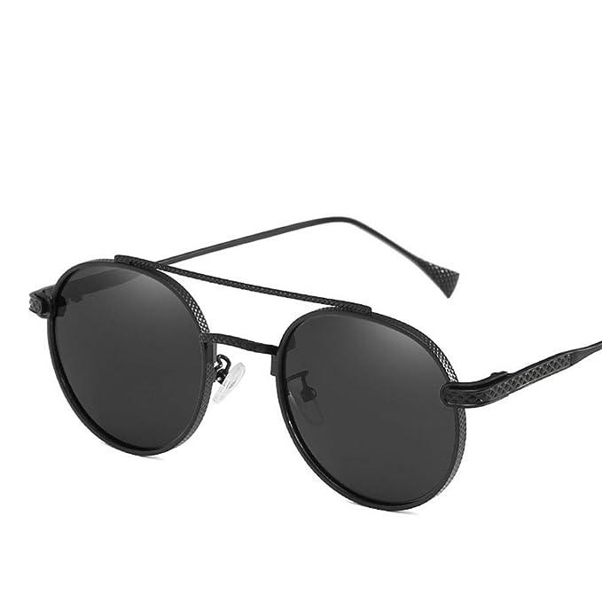 Chahua Gafas de sol de moda europea y americana ronda de marea alta retro gafas óptica hombres y señoras personalidad, gafas de sol negro 66317: Amazon.es: ...