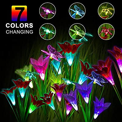 3 Pack Outdoor Solar Garden Stake Lights - Solar Powered Multi-color Changing Lights with 9 Lily Flowers and Butterfly, Hummingbird, Dragonfly, Solar LED Decorative Lights for Garden, Patio, Backyard
