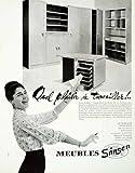 Meubles Best Deals - 1958 Ad Meuble Sansen Office Furniture Metallic Fifties Filing Cabinet Desk 50s - Original Print Ad
