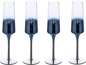 Wine Glasses 7 Oz Funny Starry Sky Wine Glass Cup Stemmed Wine Goblet Made in Germany Lead-Free Premium Crystal Shatter Resistant Dishwasher Safe Wine Glass,Blue,Setof4
