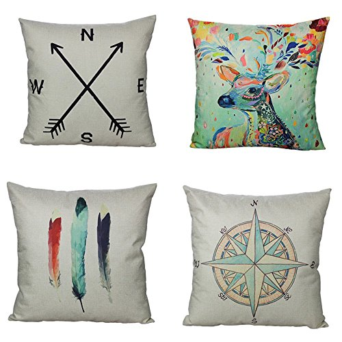 All Smiles Decorative Throw Pillow Covers Case Cushion Home Decor 18 X 18 Set of 4 Cotton Linen for Farmhouse Couch Sofa Bed Room,Deer Antlers,Navigation Compass,Feathers