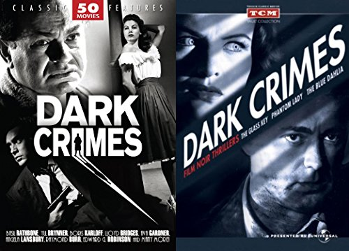Dark Crimes Film Noir Thrillers / The Glass Key ('42) Phantom Lady ('44) The Blue Dahlia ('46) + 50 Movie Set: Flowers from a Stranger - The Limping Man - The Mystery of Mr. Wong - The Strange Woman