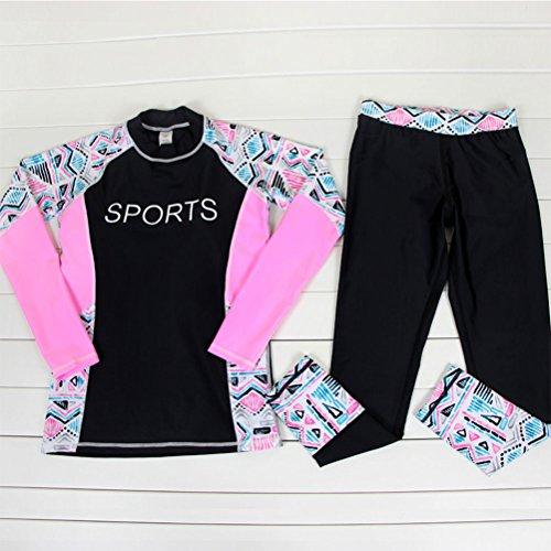 Zhuhaitf Alta calidad Womens Full Length Split Swimsuit 2 Color Elasticity Waterproof Wetsuit Black