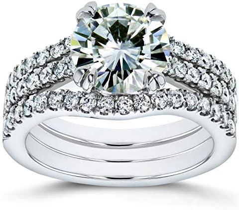 Kobelli Moissanite and Lab Grown Diamond 3pc Bridal Rings Set 2 1/2 CTW 14k White Gold (HI/VS, DEF/VS)