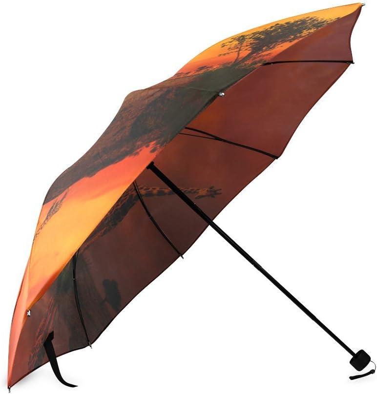 Custom Sunset Giraffe dusk Compact Travel Windproof Rainproof Foldable Umbrella