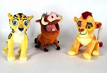 Set Completo de 3 Peluche Felpa de Disney Lion Guard Kion Fuli Pumbaa GRADNE 30cm -