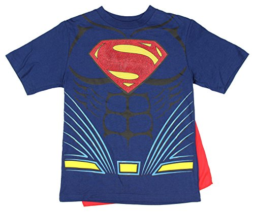 DC Comics Superman Costume with Cape Boys Graphic T-Shirt (X-Large 14/16) (Superman T Shirt With Cape)