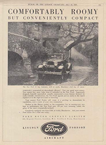 Comfortably Roomy but Conveniently Compact - Ford Model A Cabriolet ad 1931 UK