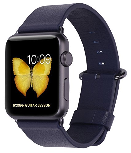 (PEAK ZHANG Compatible Iwatch Band 38mm 40mm Women Genuine Leather Replacement Strap with Space Grey Adapter and Buckle Compatible Series 4 (40mm) Series 3/2 /1 (38mm) Sport Edition, Navy)
