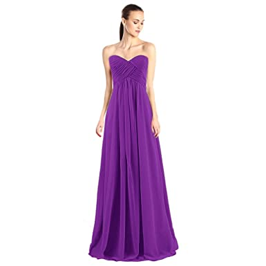 Tngan Sweetheart Bridesmaid Chiffon Prom Dresses Long Evening Gowns Dark Purple S
