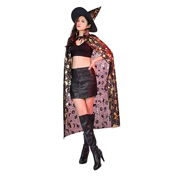 BaZhaHei-Halloween, Capa de Cos Coat Escudo de Wicca Medieval Cape Shawl Fiesta de Bruja de Halloween + Sombrero Bruja de Halloween Sombrero de Hechicero + ...