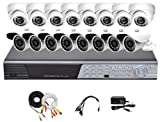 iPower Security SCCMBO0015-1T 16 Channel 1TB HDD Full D1 DVR Security Surveillance System with 16 850TVL Cameras