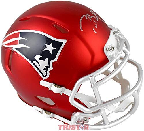 Tom Brady Signed Autographed New England Patriots Red Blaze Mini Helmet (Tom Brady Mini Helmet)