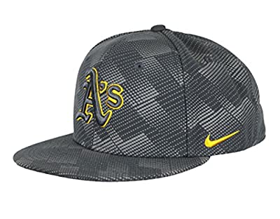 NIKE Men's Oakland A's Seasonal Snapback Cap One Size Anthracite Yellow