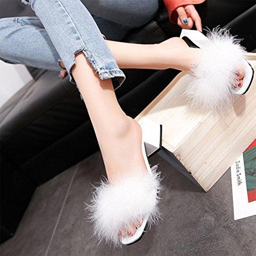 silvestre EU36 estilo los cabeza mujeres CN36 US6 hembra ocio de dedos cuadrada felpa UK4 Cuadrado descubiertos palabra zapatillas con con de U8wvqv
