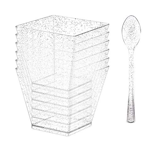 50 Count 5oz Mini Silver Glitter Clear Dessert Cup - Disposable Plastic Square Cube/Mini Tumbler Cups For Parfaits Puddings Tiramisu Mousse Ice cream Dessert Buffet Shoote