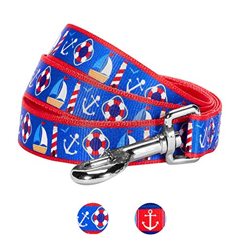 - Blueberry Pet 2 Patterns Peace Bon Voyage Nautical Blue Dream Designer Dog Leash, 5 ft x 3/4