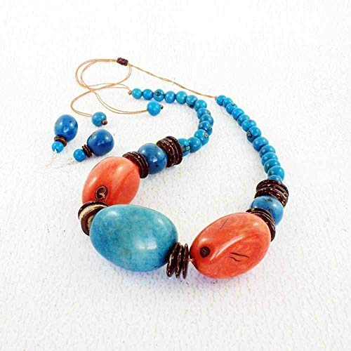 Chunky Blue and Orange Necklace and Earring Set made of Tagua, Handmade Fair Trade Eco Friendly Jewelry in an Ethnic Style