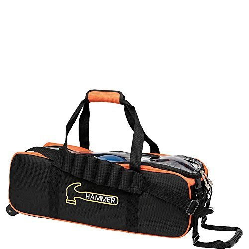 Hammer Premium Triple Tote Bowling Bag, Black/Orange (Triple Bag Bowling Hammer)