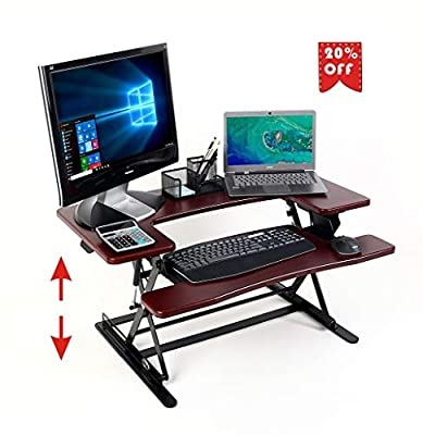 "Standing Desk Converter, Height Adjustable Sit Stand Up Desk Converter Table Topper Riser Desk 36"" Adjustable Sitting Standing Laptop Desk Fits 2 Monitors Risers Stand Desk"