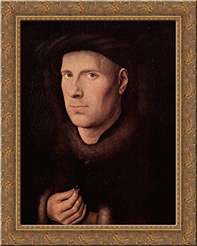 - Portrait of Jan de Leeuw 24x20 Gold Ornate Wood Framed Canvas Art by Jan van Eyck
