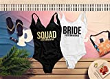 Squad Bachelorette One Piece Swimsuit, Custom Bride and Squad Bathing Suit For Bridesmaids and Bride, Cruise High Cut and Low Back Swimsuit for Women