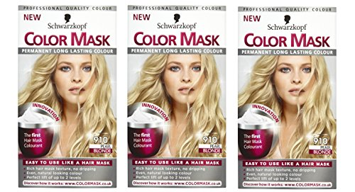 3 x Schwarzkopf Color Mask Permanent Long Lasting Colour 910 Pearl Blonde