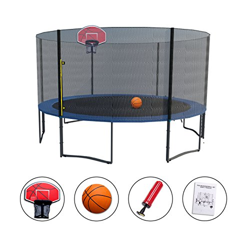 Exacme High Weight Limit Trampoline with Safety Pad & Enclosure Net and Ladder Combo withBasketball Hoop and Ball Included; T-Series, Orange (14 Foot)