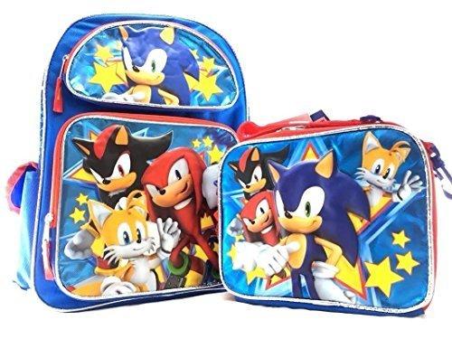 Mochila escolar azul de lona de Sonic the Hedgehog Boys 16 Plus Plus Lunch Bag Set