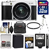 Fujifilm X-A5 Wi-Fi Digital Camera & 15-45mm XC Lens (Silver) 32GB Card + Battery + Case + Tripod + Flash + Filter + Kit