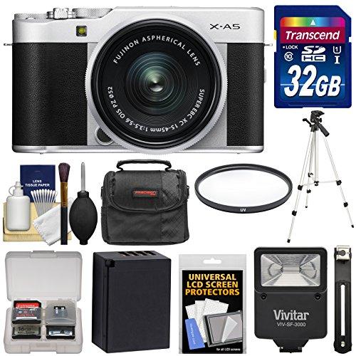 Fujifilm X-A5 Wi-Fi Digital Camera & 15-45mm XC Lens (Silver) with 32GB Card + Battery + Case + Tripod + Flash + Filter + Kit (Fuji Video Digital)