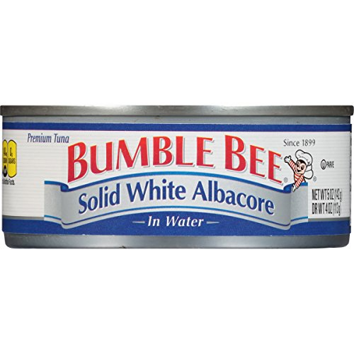 BUMBLE BEE Solid White Albacore Tuna Fish in Water, Canned Tuna Fish, High Protein Food, Wild Caught, Gluten Free, 5 Ounce (pack of 24) ()