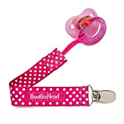 BooginHead - PaciGrip Pacifier Clip and Pacifier Holder with Universal Loop - Pink Polka Dot, Pink and White