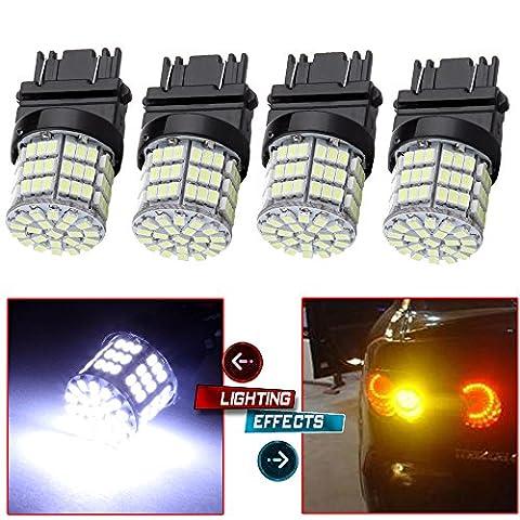 CCIYU 4 Pack White 3157 Epistar 6000K 3020 85SMD LED Lights Bulbs for 3157 Tail Brake Stop Light (2002 Ford Focus Brake Light)