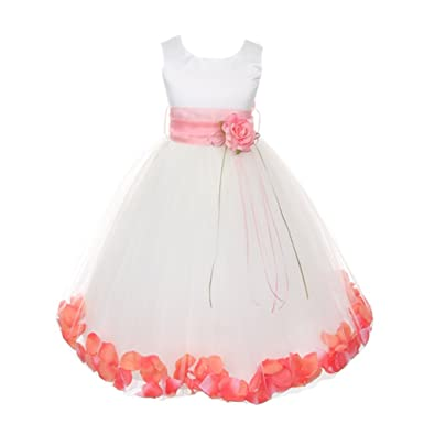 fc5aa150e5 Amazon.com  Kids Dream Big Girls White Satin Coral Petal Sash Flower ...