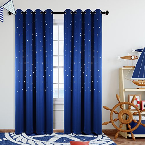 Kotile Grommet Top Blackout Curtains for Space Theme Bedroom