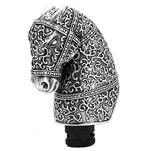 (Dugoo Universal Gear Shift Knob Resin Silver Cool Antique Horse Head Shaped Car Manual Gear Shift Knob Lever Automobile Accessory)