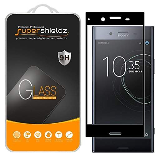 Supershieldz for Sony (Xperia XZ Premium) Tempered Glass Screen Protector, (Full Screen Coverage) Anti Scratch, Bubble Free (Black)