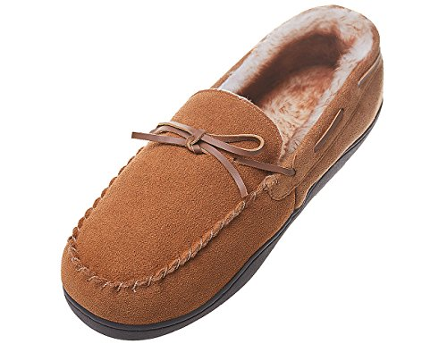 MIXIN Men's Microsuede Vamp and Rubber Sole Indoor Outdoor Moccasin Flat Slipper Shoes