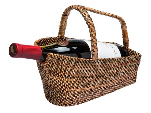 KOUBOO Wine Bottle Basket and Decanter in Rattan-Nito, Brown (Wine Bottle Basket)