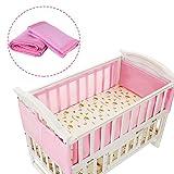 Baby Cot Bed Set Breathable Mesh Crib Liner Safety Panel Bumper kindergarten Bedding(pink)