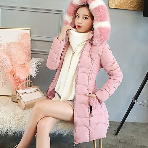 Invierno Larga Caliente Chaqueta Elegantes Mujeres Rosa Moda Suelto Acolchada Grande Cazadoras Hoodie qACwAWrpEx
