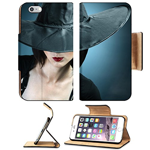 Luxlady Premium Apple iPhone 6 Plus iPhone 6S Plus Flip Pu Leather Wallet Case IMAGE ID: 34578837 Young woman in a witch costume her face covered with a hat (Person Carrying Person Halloween Costume)