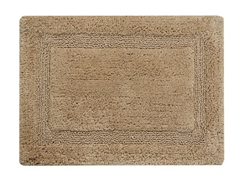 Saffron Fabs Bath Rug 100% Soft Cotton, Size 36x24  Inch, Latex Spray Non-Skid Backing, Solid Beige Color, Textured Border, Hand Tufted, Heavy 190 GSF Weight, Machine (Regency Washable)
