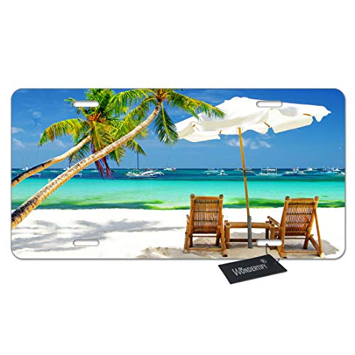 WONDERTIFY License Plate Beach Relaxing Scene with Sea Palm Tree Chairs and Boats Decorative Car Front License Plate,Vanity Tag,Metal Car Plate,Aluminum Novelty License Plate,6 X 12 Inch (4 Holes)