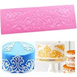 Silicone Lace, KOOTIPS Novelty Giant Lace Silicone Mold Wedding Cake Decor Tools Impression Gum Pastry Tool Kitchen Tool Paste Baking Mould Cookie Pastry (Vintage Lace)