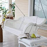 wicker porch swings Coral Coast Casco Bay Resin Wicker Porch Swing with Optional Cushion No Cushion - CWR018-1